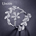 UMODE Three-Branch Leaves Florals Rings Micro Round Cut CZ Rhodium Plated Fashion Ring Jewelry for Women Vintage Anel UR0270B