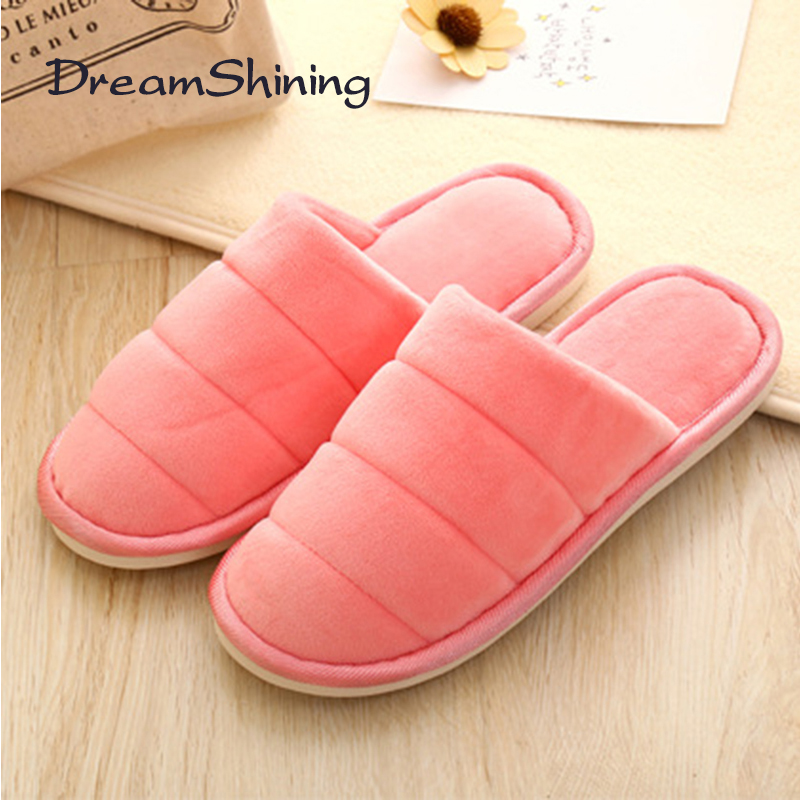 DreamShining Winter Flat Home Shoes Striped Pattern Flock Material Slippers Non-Slip Warm Wear-Resistant Couple Indoor Slippers купить