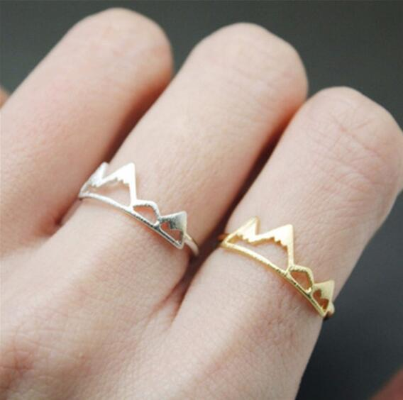 Jisensp New Fashion Adjustable Ring Open Mountain Rings for Women Birthday Gift