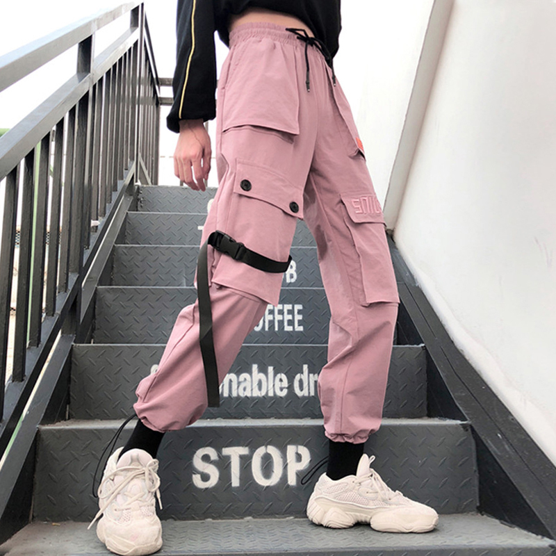 Autumn Streetwear women's pants embroidery Casual Cargo Pants Women Joggers Solid Big Pocket Pants High Waist Loose Female Pants