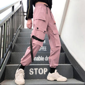 Female Pants Embroidery Women Joggers Loose Autumn Streetwear High-Waist Casual Solid