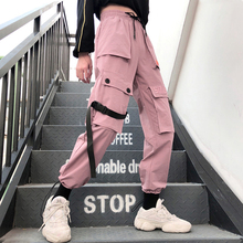 Primavera Streetwear bordado señoras pantalones casuales de las mujeres camisetas de Bolsillo grande pantalones de cintura alta, sueltos Pantalones Mujer
