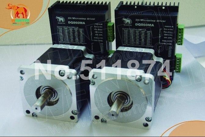 High Quality!CNC Wantai 2 Axis Nema34 Stepper Motor 85BYGH450D-008 1090oz+Driver DQ860MA 7.8A 80V 256Micro Metal Cutting Milling [usa free] wantai cnc 4 axis nema34 stepper motor 85bygh450d 008 1090oz in driver dq860ma 80v 7 8a 256micro