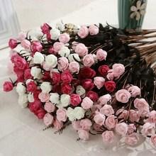1 bouquet 15 piece Plastic Rose Simulation Flower Bouquet Wedding Home Party Decor Decorative Fake Flowers For Decoration