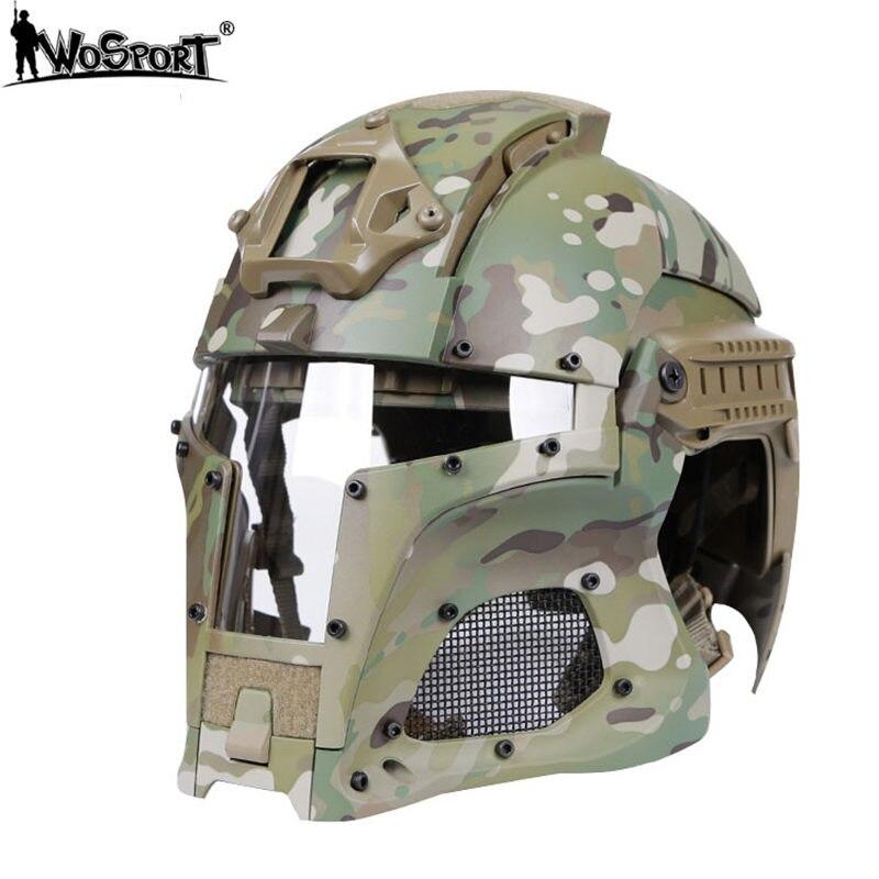 WoSporT Camouflage casques militaires Rail latéral NVG linceul 310FPS Base de transfert en plein air tactique Combat Airsoft Paintball casques