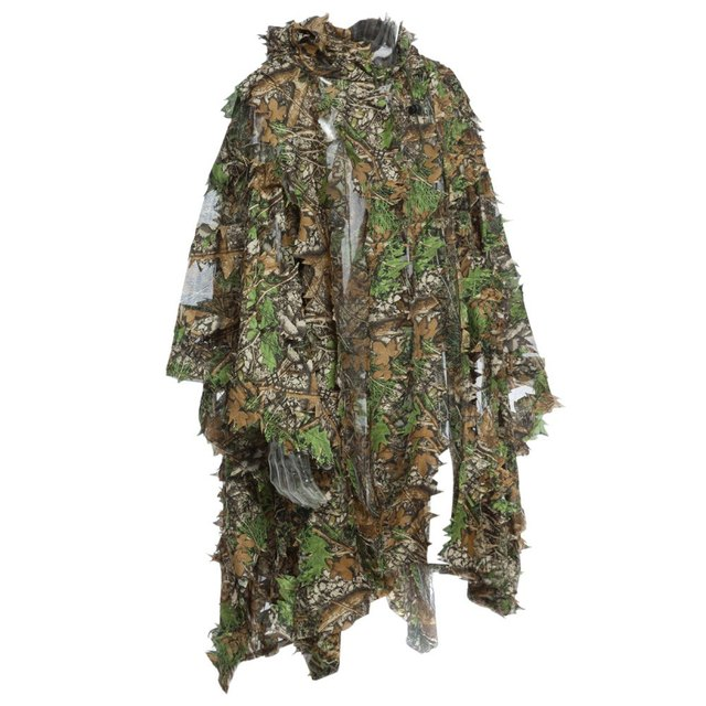 321709c8c68 1.5m 3D Hunting Camouflage Ghillie With Cap Suit Clothes Jungle Cloak  Poncho Camo Bionic Leaf For Sniper Photography