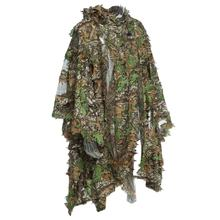 1.5m 3D Hunting Camouflage Ghillie With Cap Suit Clothes Jungle Cloak Poncho Camo Bionic Leaf For Sniper Photography(China)