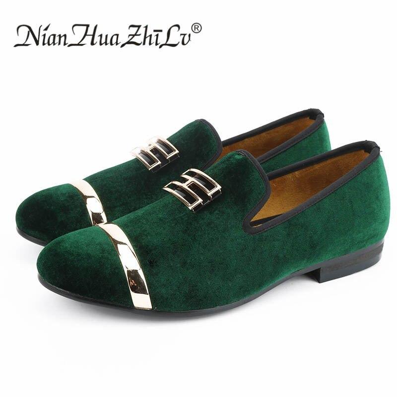 Nouveau style velours noir et vert fait à la main avec boucle brevetée or mode mocassins fête robe de mariée chaussures chaussures plates pour homme