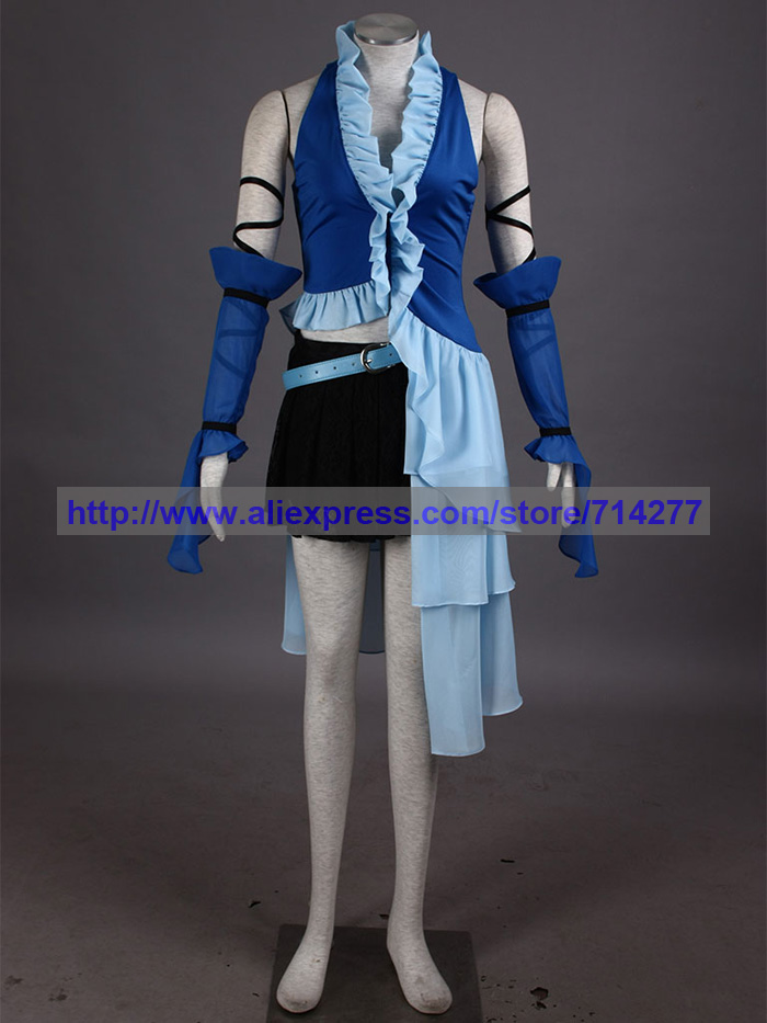 Athemis Women Dress of Final Fantasy XII Yuna Lenne Song Blue Cosplay Costume Halloween Christmas Party Gift image