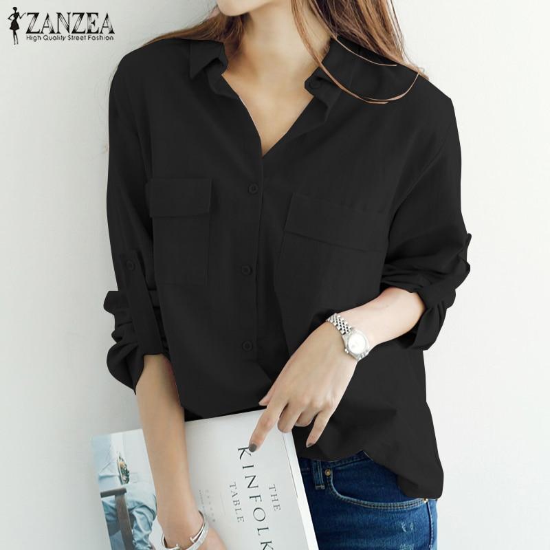 ZANZEA Plus Size 2018 Summer Blouse Women Lapel Long Sleeve Shirts Work Office Tops Casual Blusas Off White Blusa Feminina 5XL