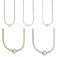 5 Style 45 CM Authentic 925 Sterling Silver Necklaces Classic Buckle Necklace Bracelets for Women Party Wedding Jewelry