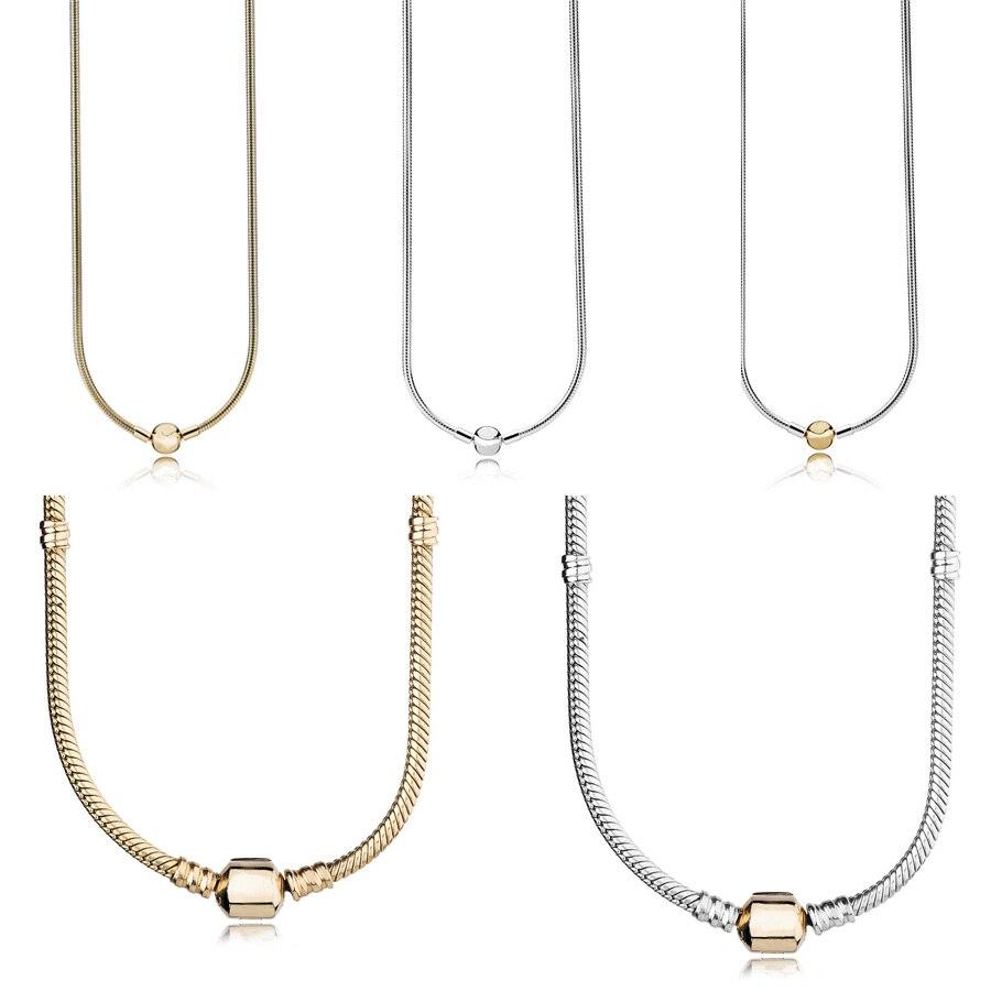 5 Style 45 CM authentique 925 argent Sterling colliers classique boucle collier bracelets pour femme fête bijoux de mariage