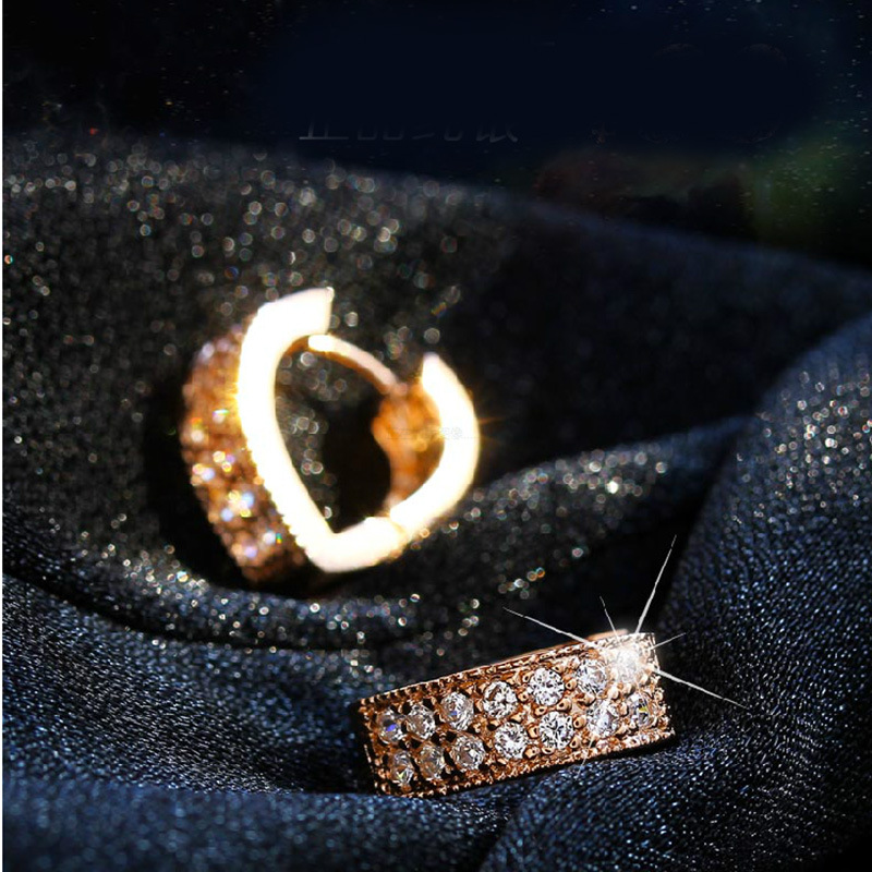 ER Rose Gold Small Hoop Earrings Silver Heart Earrings Orecchini Fashion Earing for Women 2017 Bride Jewelry SE001