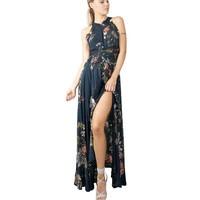 Boho Split Backless Summer Floral Beach Dress Halter Sleeveless Long Elegant Robe Sexy Maxi Womes Dresses