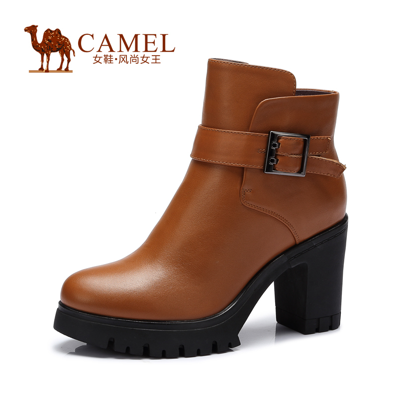 CAMEL ladies boots 2015 new autumn winter cow leather zipper high heel boots women big heel brown black shoes a54058611
