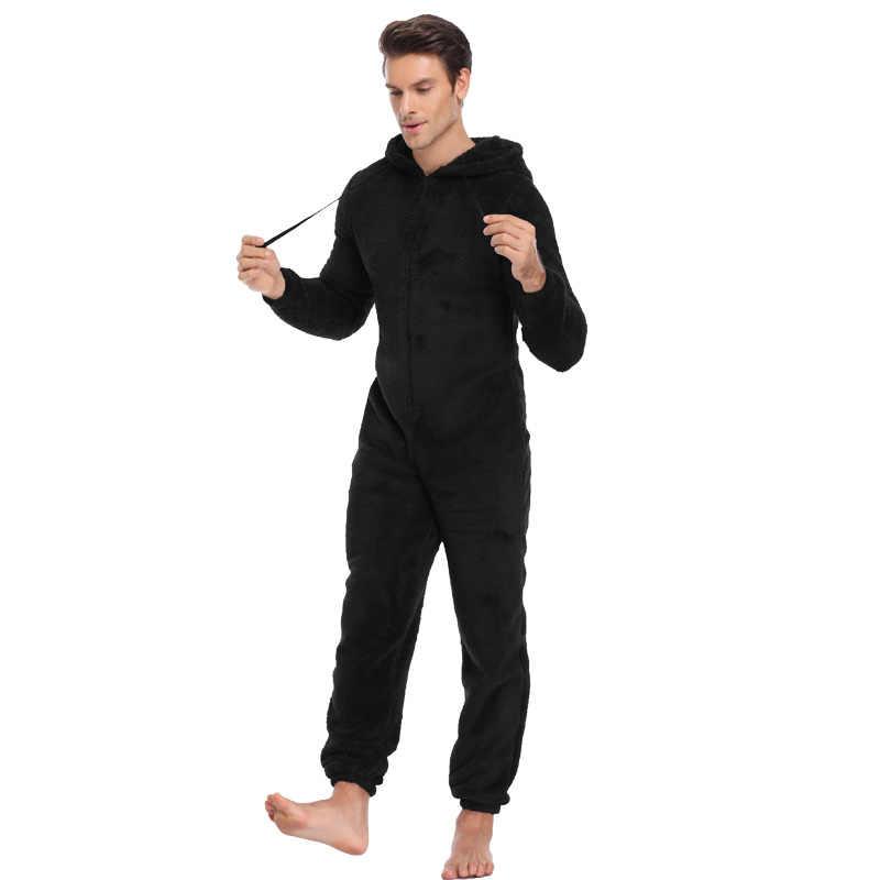 43b0a0577d ... Men Warm Teddy Fleece Onesie Fluffy Sleep Lounge Adult Sleepwear One  Piece Pyjamas Male Jumpsuits Hooded ...