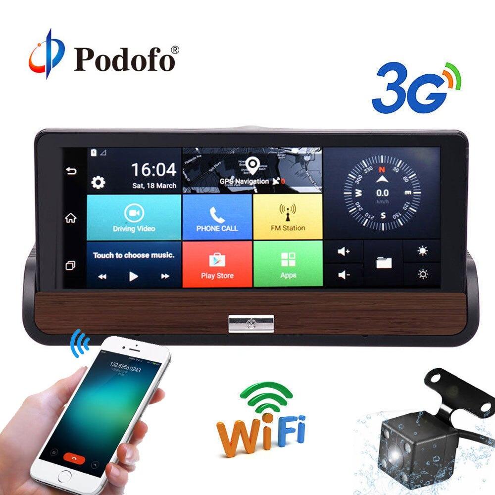 Podofo 3g 7 ''Schermo di Tocco del Android 5.0 Auto DVR Dual Camme Navigazione GPS Bluetooth Wifi Registratore Dashcam Con videocamera vista posteriore