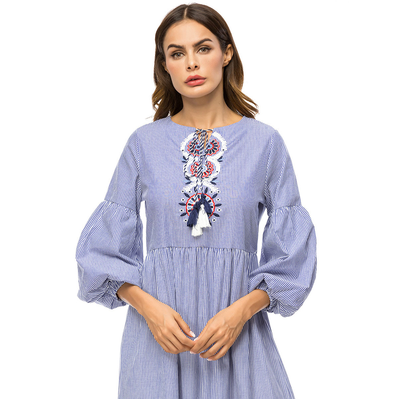 a087444afdb MISSJOY Islamic Muslim Clothing Women 3 4 Sleeve stripe embroidery casual  Loose Dubai abaya turkey fashion Long maxi dress new-in Dresses from Women s  ...