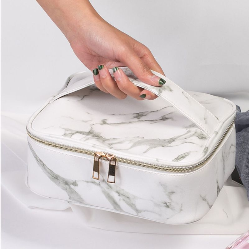 Makeup-Bag Pouch Toiletry-Case Travel Cosmetic Marble-Pattern Storage-Handbag Wash-Organizer