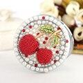 Gravar letras livre, bling strass pérola cereja doce, festa de casamento presentes christams, Mini bolso Beleza compacto maquiagem espelho