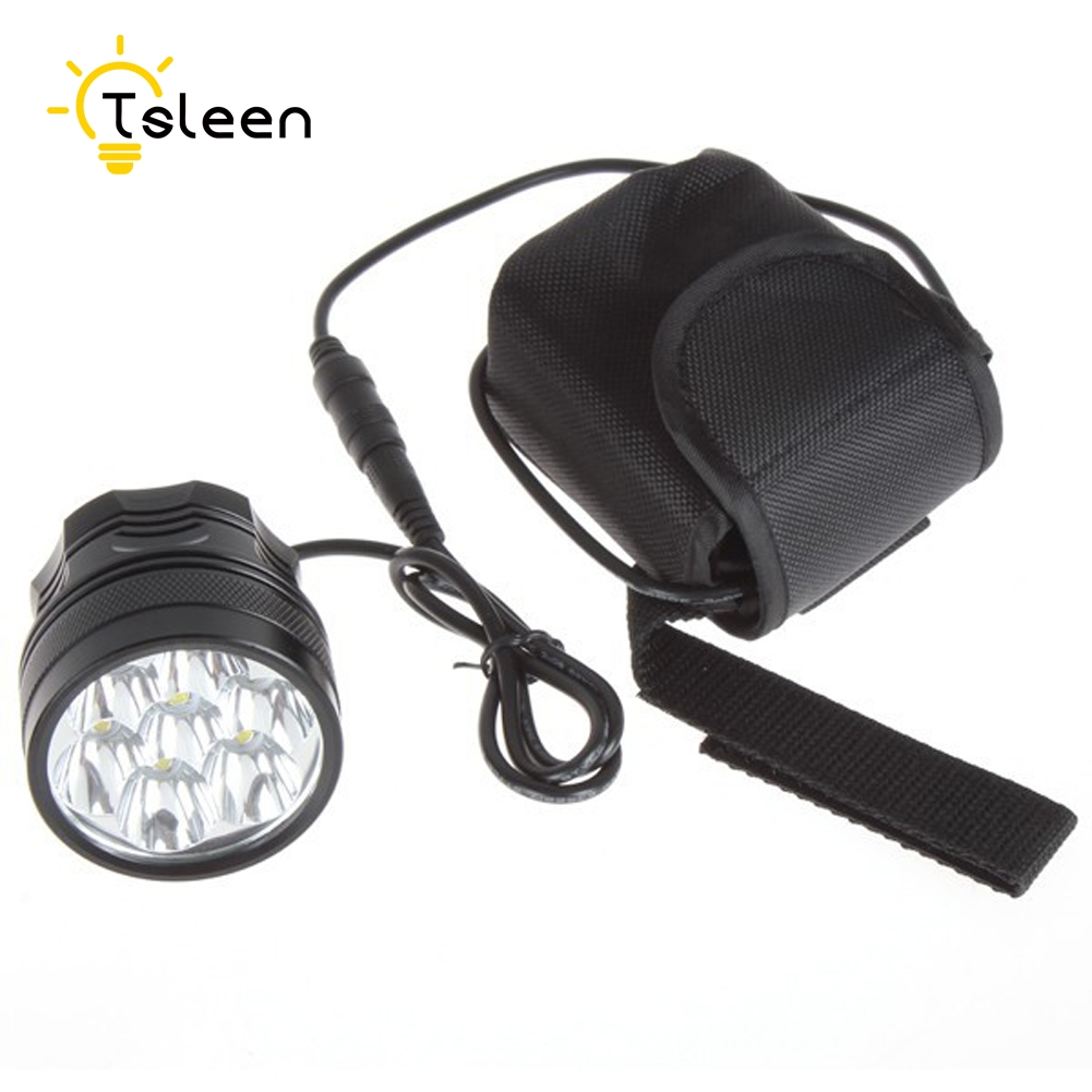TSLEEN Bicycle Bike Light 8400 Lumen 7*Cree XML T6 LED Bike Lamps Rechargeable Head Torch + 8.4V battery Pack + US EU Charger bike light x2 5000 lumen light bicycle lamp 2x cree xml u2 led bicyclelight bike headlamp battery pack charger