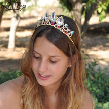 Gold Silver Color Crystal Princess Queen Crown Tiara Prom Wedding Bridal  Hair Accessories Flower Girl Kids 65e50141ab91