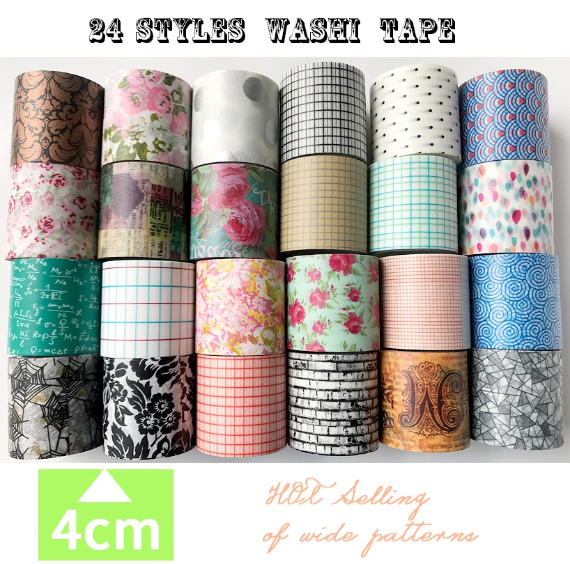 24 Styles Basics Flowers/Wall/Checks/Point/Lace/ Japanese Washi Tape Decorative Adhesive DIY Masking Paper Tape Stickers Label