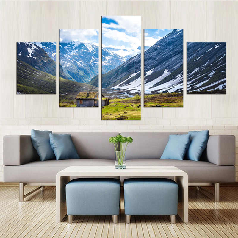 5 stücke gerahmte Wandkunst Bild Geschenk Home Decoration Leinwanddruck malerei Schnee berglandschaft großhandel/NEW-QJFJ/1084