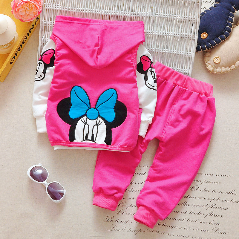 1-4 Jr, Kinderen Kleding Sets, 2018 Nieuwe Baby Meisjes Lente Herfst Mode Cartoon Minnie Hooded Vest + T-shirt + Broek 3 Stks Pak