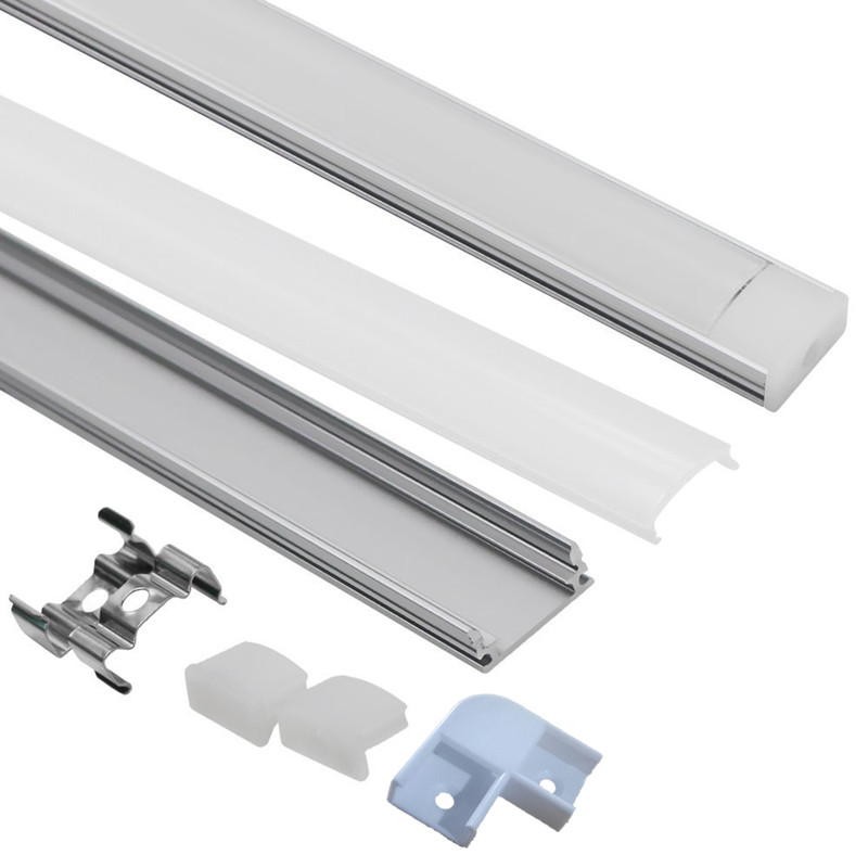 0.5m 1m perfil de alumínio de tira conduzida para 5050 5630 led barra rígida luz extrusão de alumínio com canto de cobertura estender conector