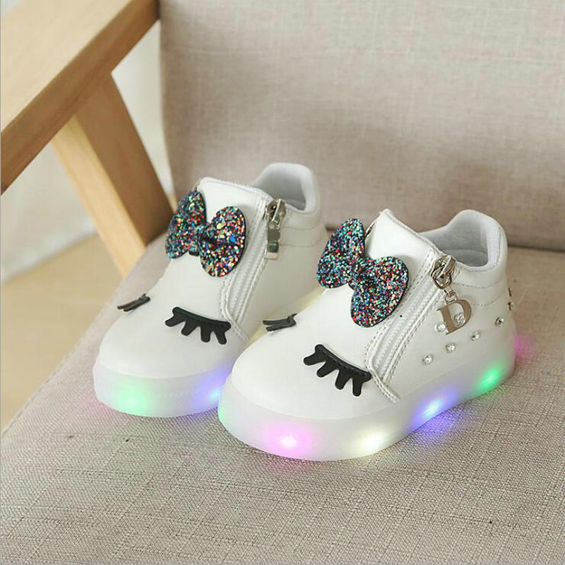 kids Glowing sneakers Baby Girls Bow Zip Crystal LED Light Children Luminous shoes Running Sport Shoes Little white shoeskids Glowing sneakers Baby Girls Bow Zip Crystal LED Light Children Luminous shoes Running Sport Shoes Little white shoes