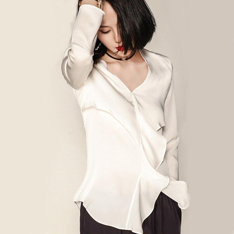 540efe9ee € 98.25 34% de DESCUENTO Blusa de seda 100% de alta calidad camisa de mujer  cuello pico sólido volantes de manga larga Casual Tops estilo elegante ...