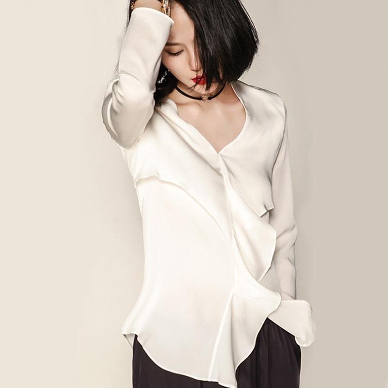 Kadın Giyim'ten Bluzlar ve Gömlekler'de Yüksek Kaliteli 100% Ipek Bluz Bayan Gömlek Katı V Yaka Ruffles Uzun Kollu Casual Tops Zarif Tarzı 2017 Yeni Moda'da  Grup 1