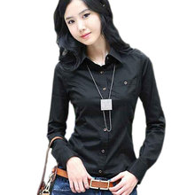 2017 Elegant Slim Long Sleeve Pocket White Shirt Women Korean Blouse Black Cotton Formal Basic Shirt Female Blusas Plus Size XXL