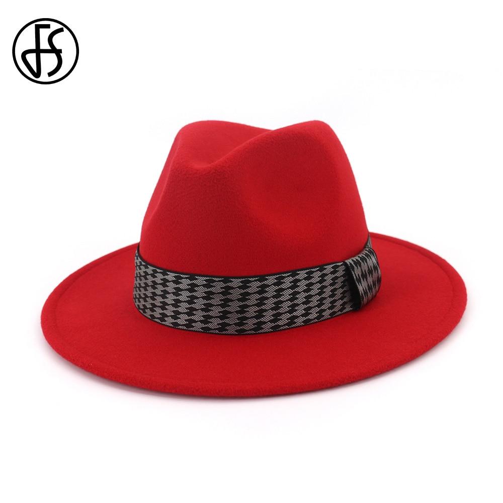 24abb196aea Autu Wo Red Black Ladies Winter Fedoras Hats For Men Top Jazz Hat ...