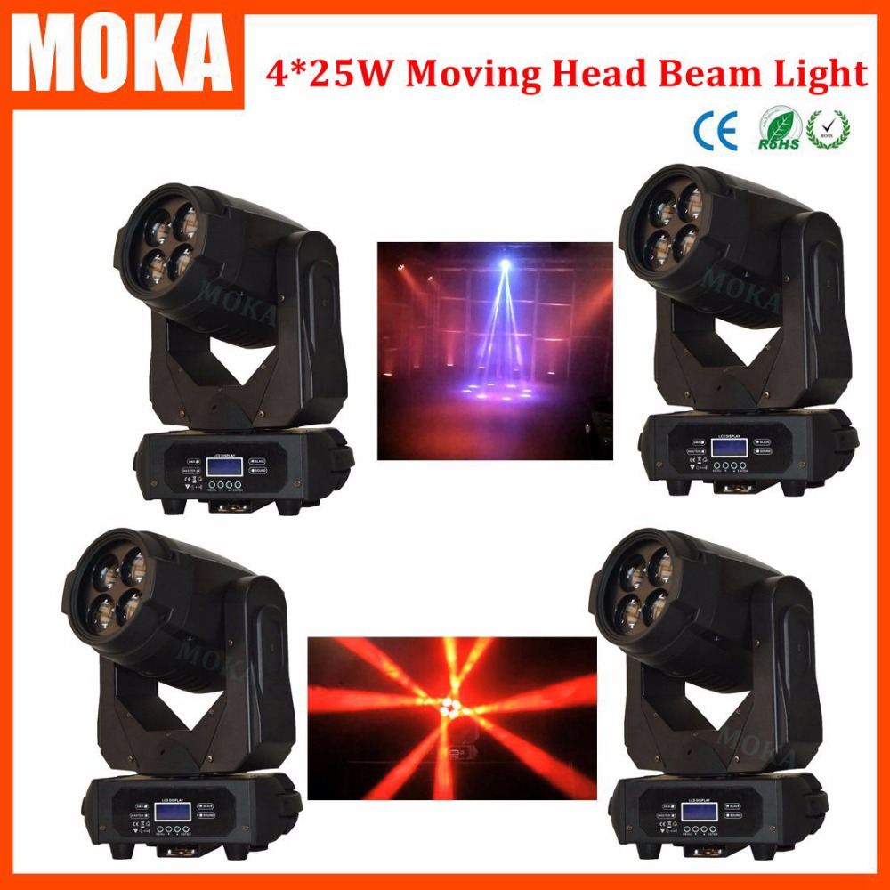 4 Pcs/lot new arrival led moving head light zoom spot wash strobe effect 4*25W DMX 9/15 ch led RGBW 4 in 1 Color DJ Equipment 6pcs lot moka16 25w rgba 4in1 moving head light zoom beam wash spider light dimming strobe stage lighting effect led projector