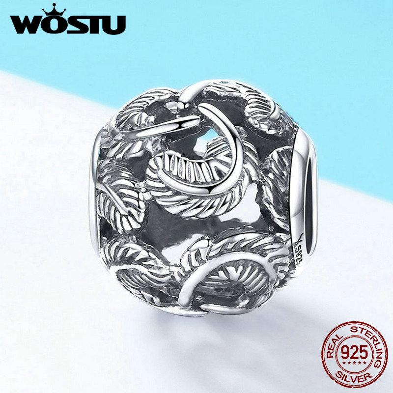 Wostu European S925 Sterling Silver Pendant Charm Fit Bead Mr Moon Jewelry Gift