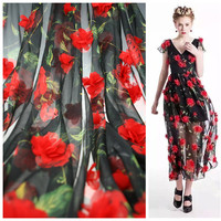 Width 130 Cm Chiffon Printing 3D Handmade Nail Flowers Lace Fabric The New Spring And Summer