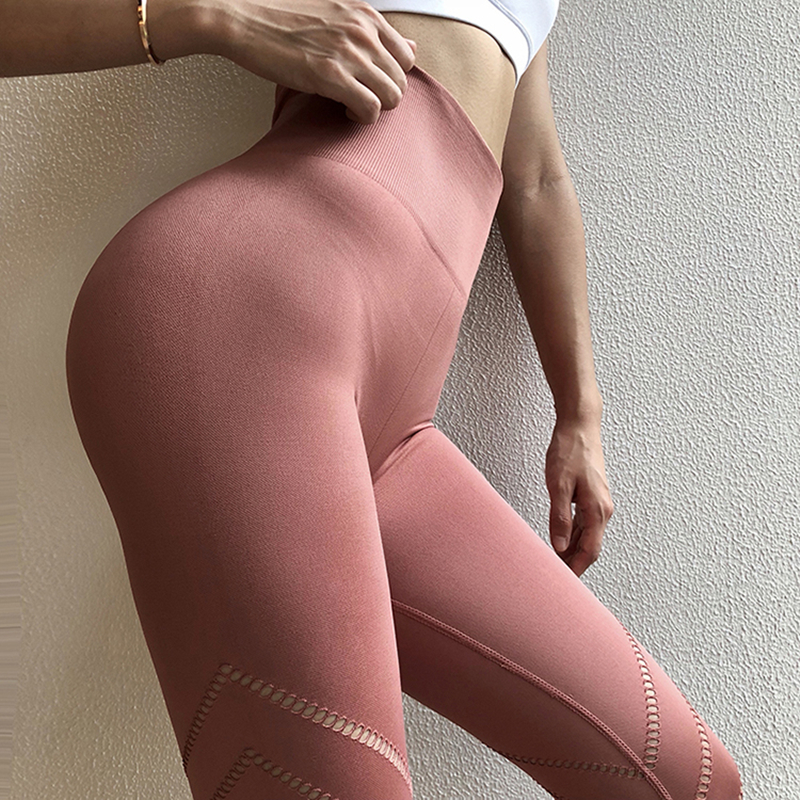 Oyoo diseño único Rosa Sexy Yoga sin costuras cintura alta Athletic Sport Leggings Oliva entrenamiento Jogging pantalones para las mujeres