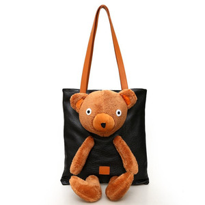 PU Winter Design High Capacity Leather Tote Bag Ladies Clutch Shoulder Bag Girl Handbag Plush Bear Women Casual Crossbody Bag