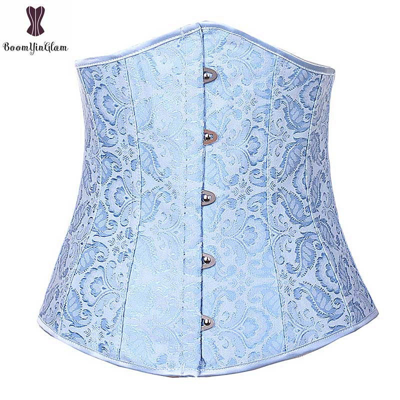 Underbust Jacquard Corset Top Dark Blue Floral Fish Boned Corselet Outwear Sexy Women Bustier For Everyday Daily Waist Slimming