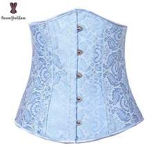 b6c5d44099 Underbust Jacquard Corset Top Dark Blue Floral Fish Boned Corselet Outwear  Sexy Women Bustier For Everyday Daily Waist Slimming