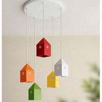 New Cute Lovely Many Colors Little House Iron Art Children's Room Led E27 1/2/3/5 Heads Pendant Light For Kids Kindergarten 1713