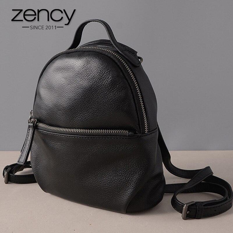 Zency 100% véritable cuir de vache mode femmes sac à dos noir petits sacs de voyage quotidien vacances sac à dos de haute qualité fille cartable