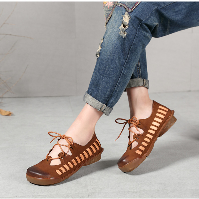 Women Leather Flats Casual Low Heels Lace Up Spring Shoes Hollow Out Rome Style Handmade Women Genuine Leather Flats Soft BottomWomen Leather Flats Casual Low Heels Lace Up Spring Shoes Hollow Out Rome Style Handmade Women Genuine Leather Flats Soft Bottom