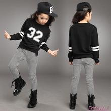Retail Teenage Girls' Clothing Set Autumn New 2016 Kids Girls Clothes Sports Suit Long Sleeve Top & Pants 2 pcs White Black