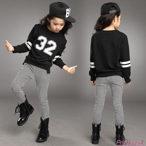 Teenage Girls' Clothing Set Spring Fall New 2017 Kids Girls Clothes Sports Suit Long Sleeve Top & Pants 2 pcs  Set White Black butterfly patterned teenage girls long sleeve t shirts top 2016 fall new kids girls hoodies sweatshirts black white cotton tee