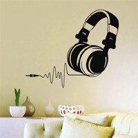 E48 Audio Mural Design MICROPHONE Headphones Hand Up Music DJ Pulse Sign Studio Wall Stickers Home