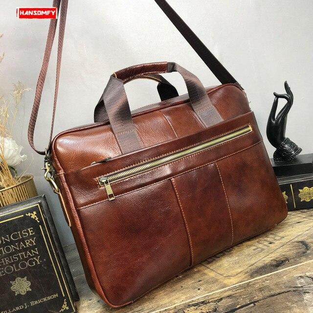 2019 Business men briefcase genuine leather diagonal shoulder bag male handbag computer 15 inch laptop crossbody messenger bag
