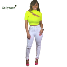 Fashion Fluorescent Yellow Green Top Vest Women 2019 Sexy Knitted Turtleneck Sweater Top Summer Camisole Women Hollow Out TShirt(China)